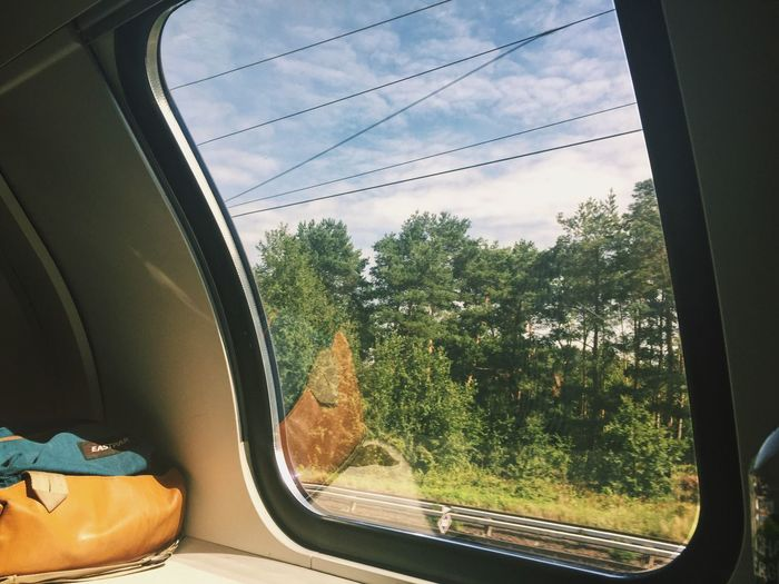 Mode Of Transport Transparent Glass - Material Vehicle Interior Transportation Window Tree Travel Land Vehicle Looking Through Window Sky Train - Vehicle Car Side-view Mirror Train Road Trip Public Transportation Vehicle Seat On The Move Part Of Deutsche Bahn