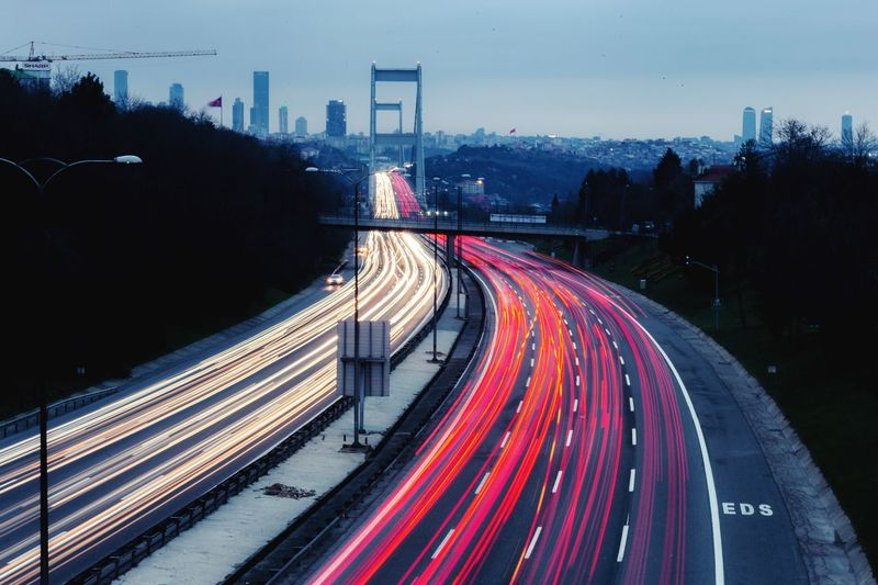 Nerves of Istanbul Transportation Long Exposure Road Illuminated City Built Structure Architecture Light Trail Sky Tree High Angle View Speed Connection Street No People Dusk Building Exterior Night Motion Nature