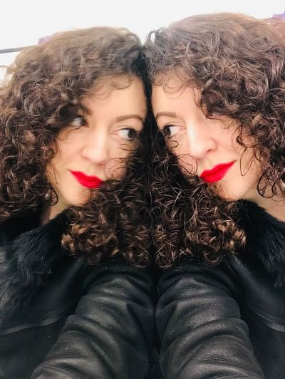 Hello, sister! Duality Twins Mirror Reflection Portrait Women Young Adult Lifestyles Real People Young Women Headshot Lipstick Curly Hair Make-up Togetherness Two People My Best Photo International Women's Day 2019