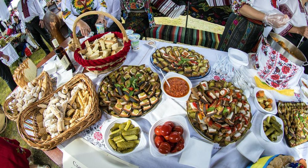 Traditional folk dishes from the area of Bukovina. Bukovina is a historic land in the Carpathians, now belongs to two states - Romania and Ukraine. Cucumbers Sandwiches Basket Bread Choice Day Food Food And Drink Freshness Healthy Eating High Angle View Snacks Tomatoes Traditional Food Variation