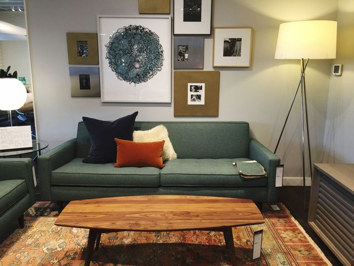 Illuminated Floor Lamp Next To Sofa