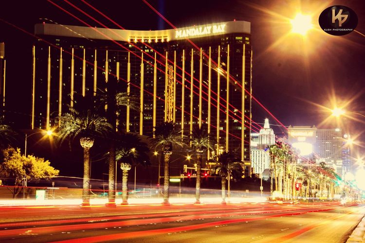 Las Vegas Strip   Mandalay Bay Light Trails