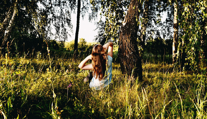 Beautiful Beauty In Nature Day Field Flowers Girl Grass Grassy Green Color Growth Hair Leisure Activity Lifestyles Nature Non-urban Scene Outdoors Relaxation Russia Russian Girl Summer Summertime Sun Light Tranquil Scene Tranquility Tree