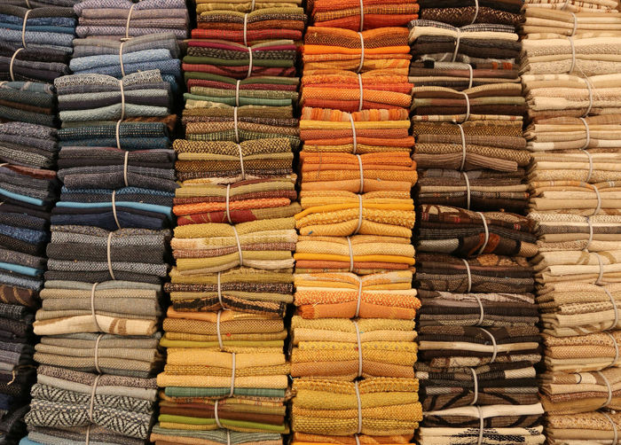 Full frame shot of multi colored fabric in store