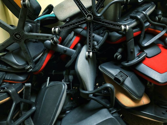 Metal Large Group Of Objects Backgrounds No People Full Frame Close-up Indoors  Still Life Equipment Abundance Day High Angle View Strength Connection Business Chairs Chaos Old Vintage Mess