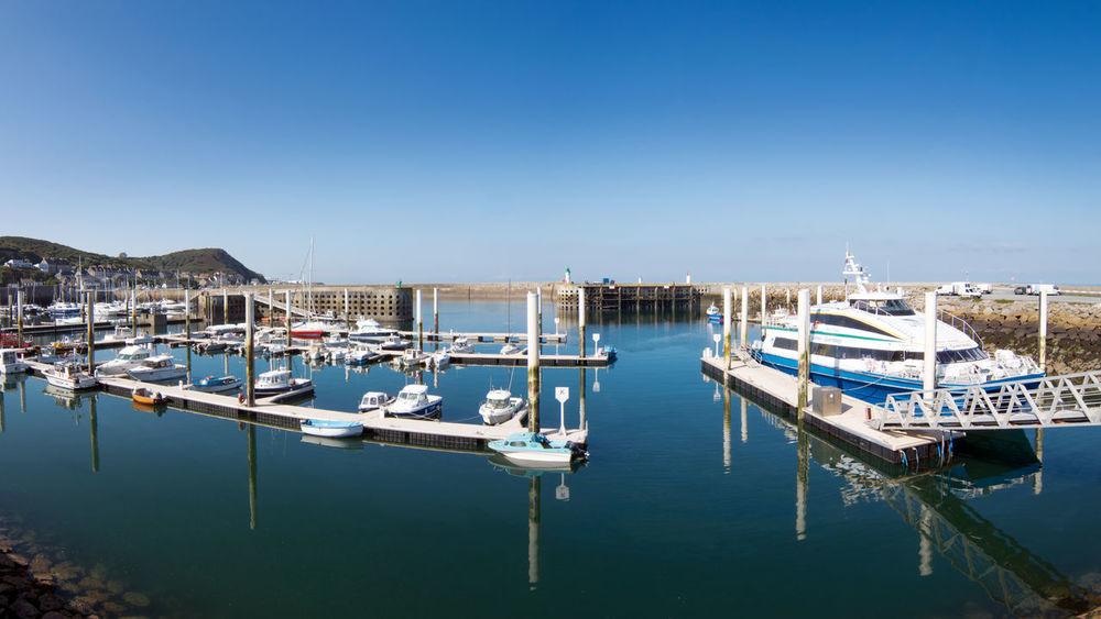 Architecture Blue Building Exterior Built Structure Clear Sky Day Dielette France Harbor Mode Of Transport Moored Nature Nautical Vessel No People Normandie Normandy Outdoors Reflection Scenics Sea Sky Tranquility Transportation Travel Destinations Water