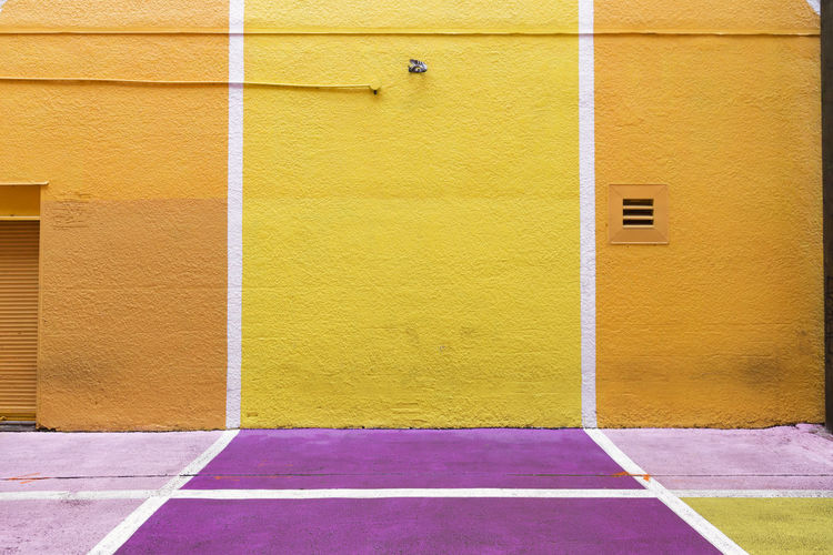 Architecture Building Building Exterior Built Structure City Day Entrance House Pink Color Purple Wall Wall - Building Feature Yellow