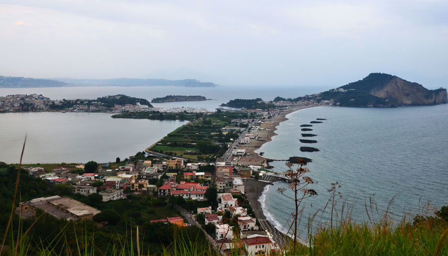 View of Lake Miseno and the Miseno Cape - Bacoli, Napoli, Italy. Vista panoramica sul lago di Miseno e Capo Miseno. Aerial View Calm Coastline Composition Eye4photography  EyeEm Nature Lover Lake Landscape Landscape_Collection Nature Nature_collection Nautical Vessel Perspective Residential District River Scenics Sea Top Perspective Tranquil Scene Tranquility Travel Photography Traveling Traveling Water Waterfront