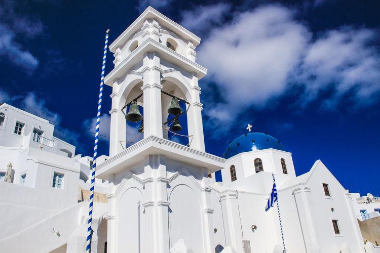 Architecture Blue Blue Church Built Structure Church Greece Outdoors Santorini Santorini, Greece Sky