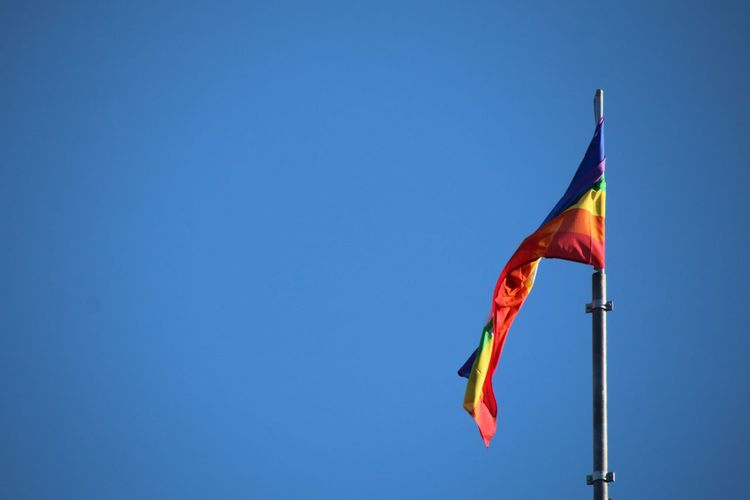 Peace Flag EyeEm Selects Flag Day No People Wind Outdoors Blue Sky This Is Queer