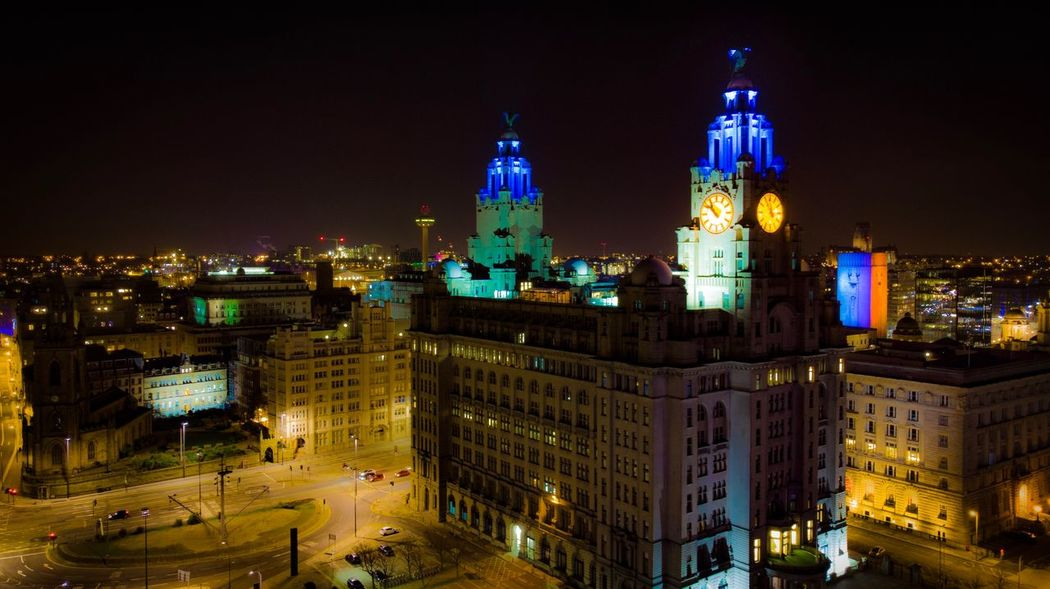Liverpool Liver Building's Liverpool Building Exterior Architecture Night Illuminated Built Structure Building City