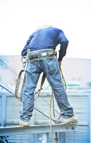 Lineman Powerlines Manual Worker Only Men One Man Only Adults Only Rear View Occupation One Person Working Men People Adult Industry Maintenance Engineer Day Manila Philippines