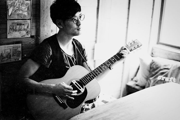 """My talented singer-songwriter friend Jing will be releasing his new EP """"How to disappear"""" this month, for more information please check out his page at www.facebook.com/singersongwriterjingwong Portrait Lifestyle Guitar HongKong Monochrome Musician Blackandwhite Eye4photography  Hon'ne Magazine Open Edit"""