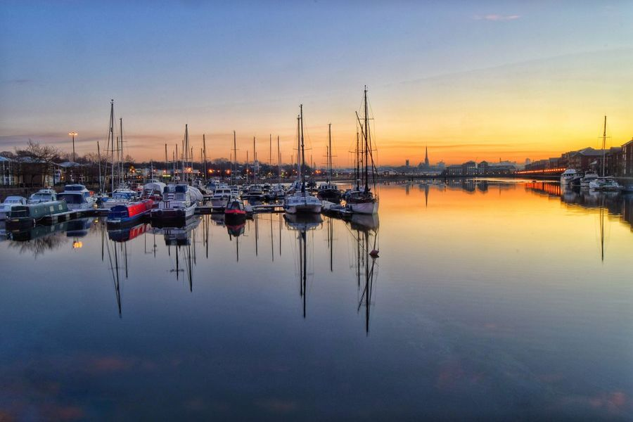 Subdued colours and a gentle sunset at Preston Docks. Harbor Waterfront Beauty In Nature Malephotographerofthemonth Photography Is My Escape From Reality! Atmospheric Mood Tranquility Sunset Preston Docks