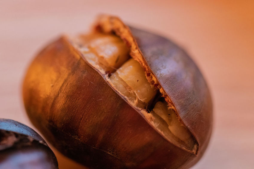 hot chestnut Chestnut Cut Brown Close-up Cosiness Filament Food Food And Drink Heated Indoors  No People Nut Nutshell Open Shell Steamed  Still Life Warm