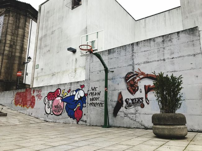Iverson We Talkin Bout Practice? Building Exterior Architecture Graffiti Built Structure Street Art Outdoors Day No People City