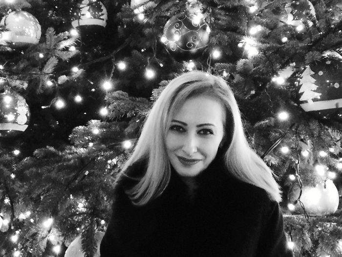 Blond Hair Blackandwhite Christmas Tree Christmas Lights Tree Smiling