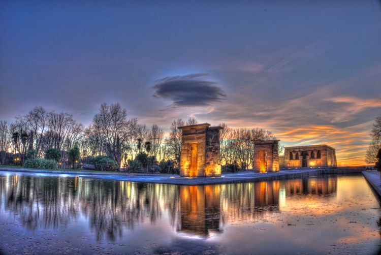 Sunset at Temple of Debod Reflection Water Sky Outdoors Sunset Sunset_collection Landscape Temple Monument Madrid First Eyeem Photo HDR Hdr_Collection