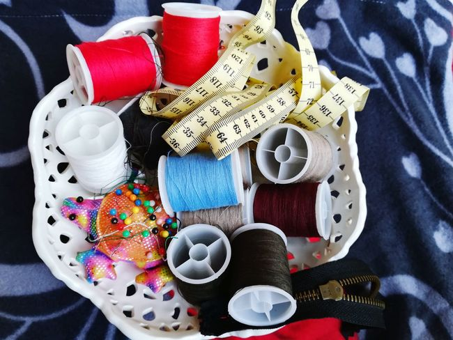 Repairs Clothes Centimeter White Light Blue Red Pins And Needles Pins Needle And Thread Quill Sewing Threads Multi Colored Spool High Angle View Variation Button Sewing Item