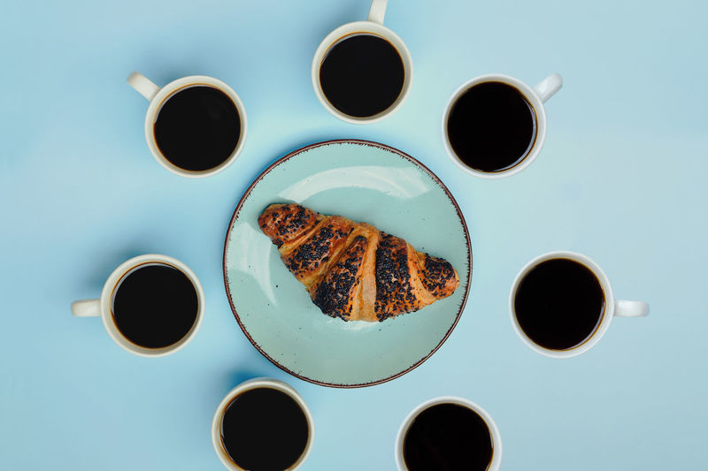 Directly above shot of coffee cups on table