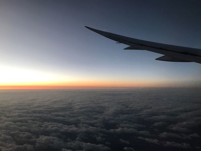 Airplane Flying Travel Sky Sunset Aerial View