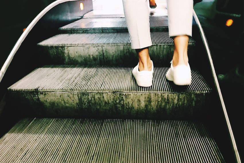 Rollin' Low Section Human Leg One Person Real People Standing People Streetphotography Escalator Lifestyles Street Fashion Moving Forward  Stairs Let's Go. Together. Urban Impressions Be. Ready. Fashion Stories
