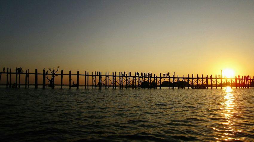 Sunset at U Bein Bridge. Sunset Hello World Relaxing Taking Photos The _ Mazzalong Romance Enjoying Life Mandalay Ubeinbridge Sky