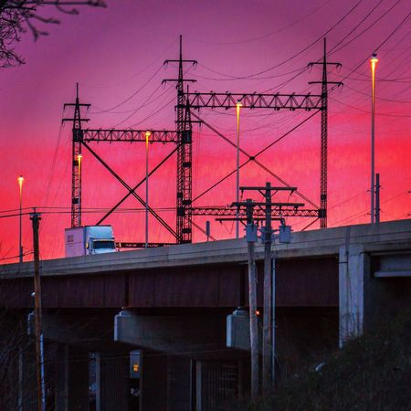 Golden Hour Sunset Highway Transportation Industry Steel Bridge Sony A6000 Tower Instago Milford Connecticut I95 Sunset Bridge - Man Made Structure Sky Architecture Built Structure Power Line  Electricity Tower Railway Signal Railroad Track Elevated Road