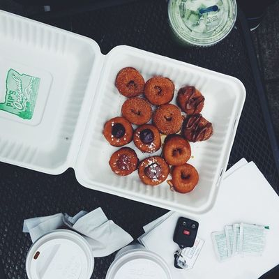 Tasty coffee and tiny donuts before the drive to WA for Sasquatch2015 . ☕🍩 Portland Travel 365grateful