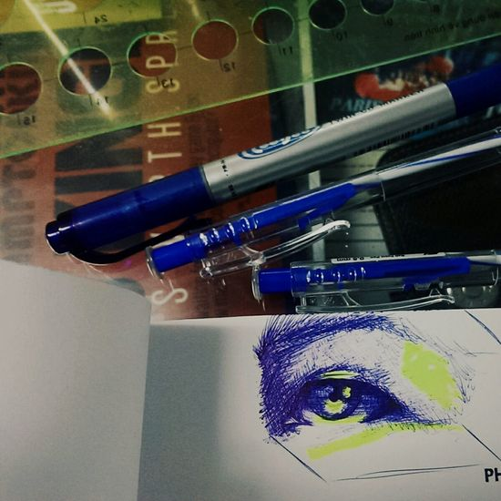 Sketching while falling asleep at frech class -_- 1st time drawing by blue ballpen Sketch Enjoying Life Relaxing The Tree Academy Art, Drawing, Creativity Hand Drawing Eyes