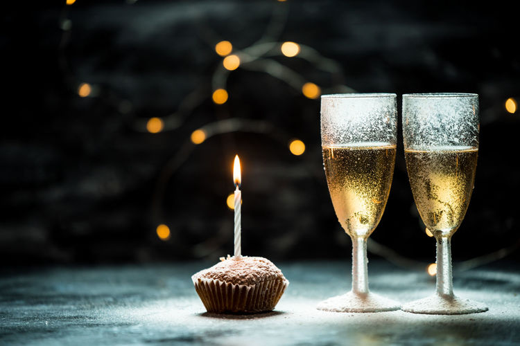 celebration Celebration Birthday Happy Birthday Champagne Muffin Candle Light Love Valentine's Day  Valentine Romantic Evening Black Background Party - Social Event Drink Drinking Glass Celebration Alcohol Table Close-up Food And Drink Candlelight Pastry Food Styling Carbonated Birthday Cake Birthday Present Darkroom Birthday Candles Candlestick Holder