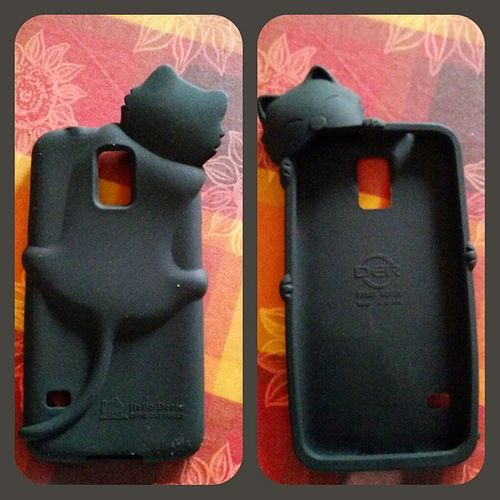 Avevo quasi perso le speranze...ma la mia cover miciosa finalmente è arrivata!! 😍😍 Cover Smartphone Samsung Gs5 cat black cute