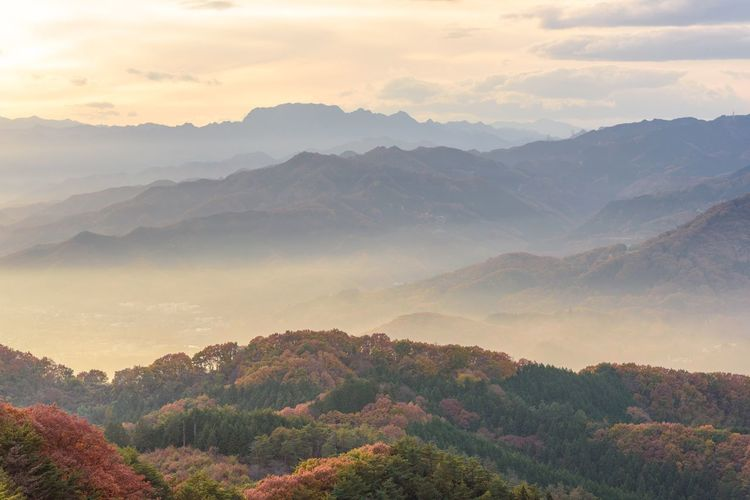 I enjoyed the Sunset view from Nagatoro Mountains in Saitama, Japan. Mountain Mountain Range Beauty In Nature Tranquil Scene Landscape Outdoors Scenics Clouds And Sky Japan 風景 Japan Photography 長瀞 夕焼け 秋 Autumn Colors Autumn🍁🍁🍁