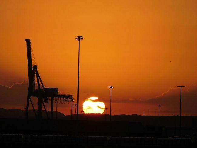Sunset Orange Color No People Outdoors Sky Grua Port Sea Sea And Sky