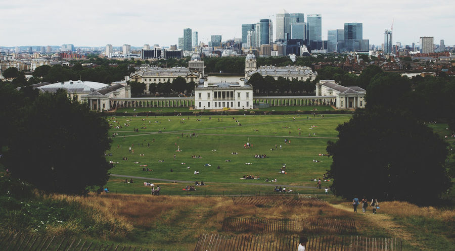 Aerial View Architecture Building Exterior Built Structure City City Life Cityscape Day Grass Green Color Greenwich London London United Kingdom Nature No People Outdoors Residential Building Royal Naval College Sky Tree Urban Skyline