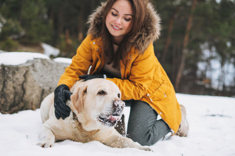 Young smiling woman in yellow jacket with big kind white dog labrador walking in winter forest