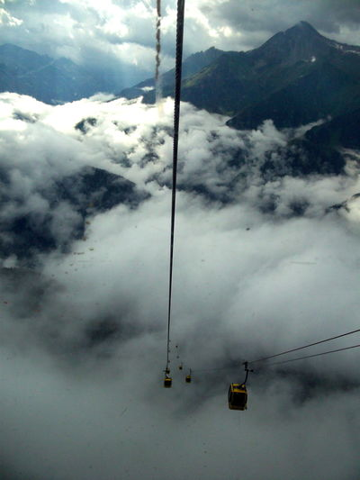 Overhead cable car over snow covered mountains