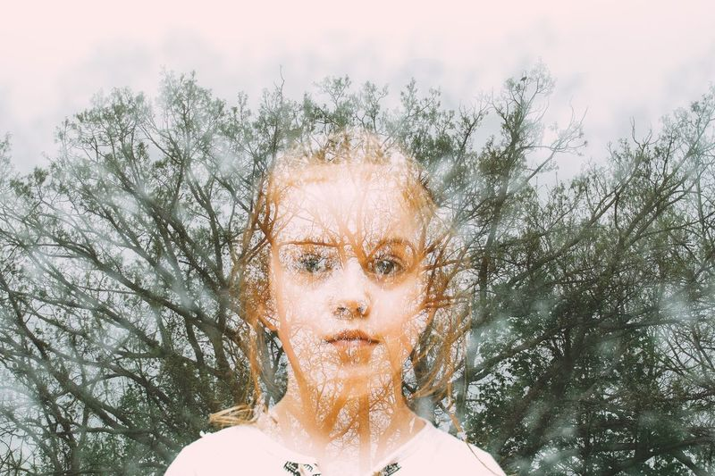 Portrait Headshot One Person Front View Looking At Camera Sky Real People Digital Composite Young Adult Tree Women Nature Beautiful Woman Young Women Lifestyles Human Face