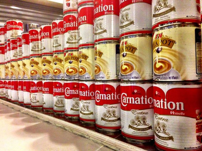 Warhol Inspired Choice Close-up Communication Day Food For Sale Freshness In A Row Indoors  Large Group Of Objects No People Retail  Store Supermarket Text Variation