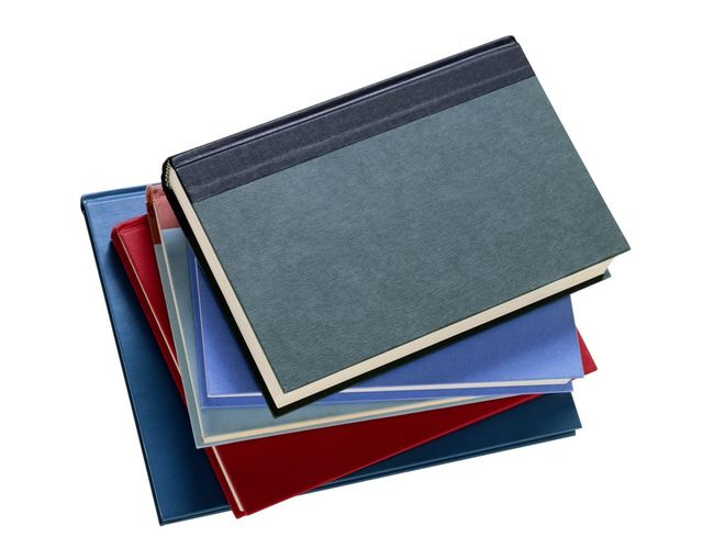 Close-up of books against white background