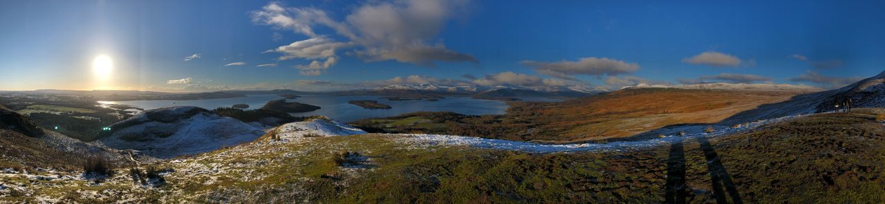 Panoramic view from Conic Hill, Scotland Beauty In Nature Nature Tranquility Scenics Tranquil Scene No People Sky Mountain Outdoors Day Landscape Winter Cold Temperature Water