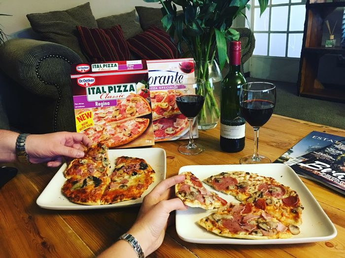 Food And Drink Food Freshness Table Plate Healthy Eating Casual Clothing Holding Temptation Person Eating Ready-to-eat Restaurant Indulgence Food And Drink Industry Dinner Meal Lunch Pizza Pizzalover Wine Redwine Droetker Swartland Date Night