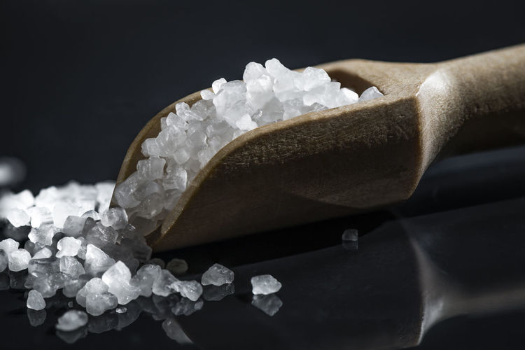Wooden scoop with crystals on it Studio Shot Black Background Close-up Indoors  Food And Drink Freshness No People Luxury Healthcare And Medicine Indulgence Still Life Sweet White Color Crystal Sweet Food Sugar Scoop Shape Wooden Spoon Bath Salts