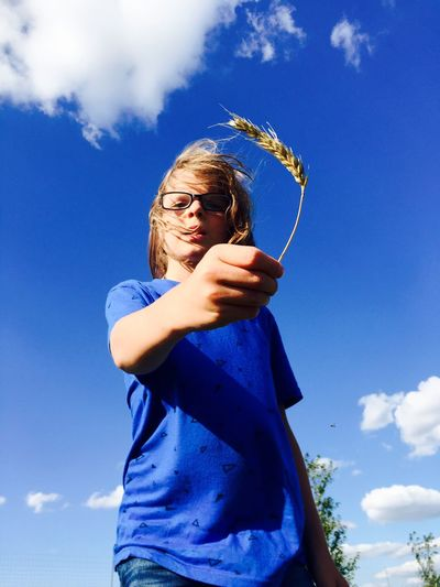 Low angle view of boy holding wheat plant against blue sky