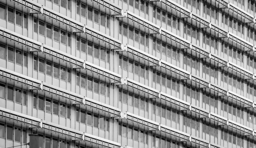 17.62° Black And White Modern Diagonal Diagonal Lines Full Frame Built Structure Architecture Building Exterior Building City No People Backgrounds Low Angle View Window Day Pattern Repetition Outdoors Residential District Nature Glass - Material Railing In A Row Apartment