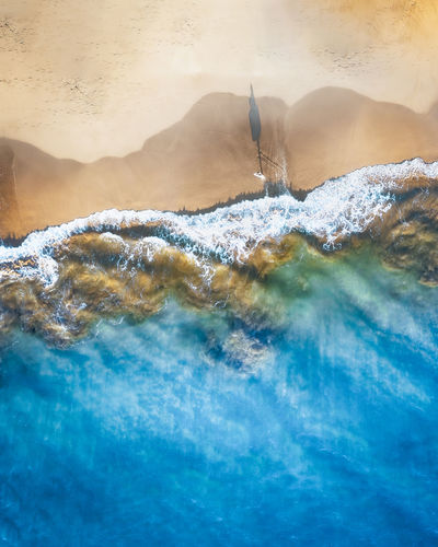 Panoramic shot of sea waves against sky