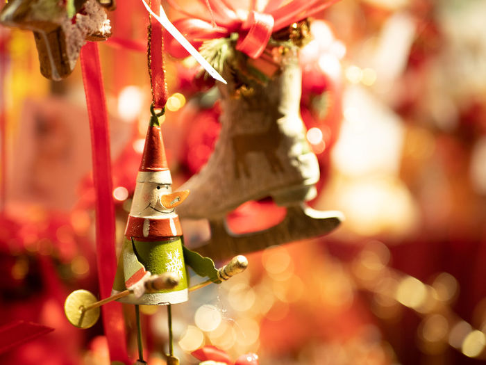 Hanging Decoration Focus On Foreground Close-up No People Art And Craft Christmas Holiday Creativity Celebration Selective Focus Indoors  Christmas Ornament Representation Event Wind Chime Christmas Decoration Red Festival Chinese New Year