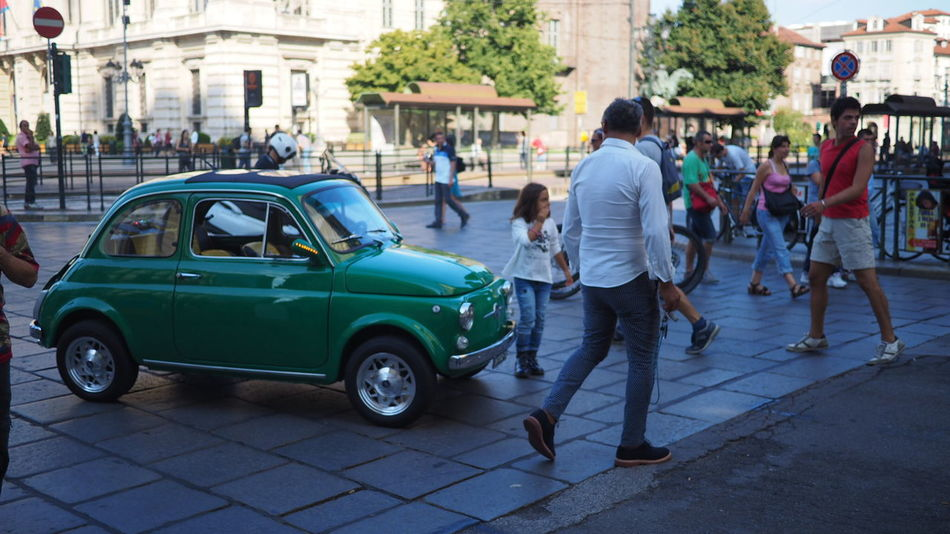 Adult Adults Only Car City Day Fiat Full Length Green Color Italian Men Outdoors People Small Car Street Street Photography Streetphotography Vintage Vintage Cars Vintage Style