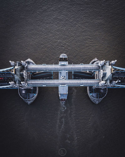 High angle view of ship against wall