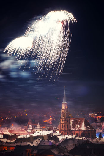 Cluj Napoca Fireworks Architecture Blurred Motion Building Exterior Built Structure Celebration City Cityscape Cluj-Napoca Exploding Firework Firework - Man Made Object Firework Display Illuminated Long Exposure Motion New Year New Year's Eve Fireworks Night No People Outdoors Place Of Worship Religion Sky Spirituality Travel Destinations The Great Outdoors - 2017 EyeEm Awards Neighborhood Map